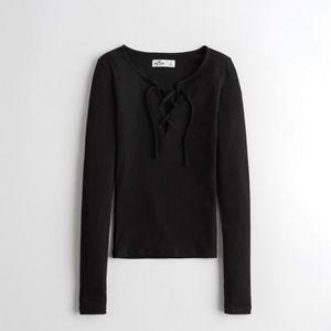 Hollister knit black tie up top